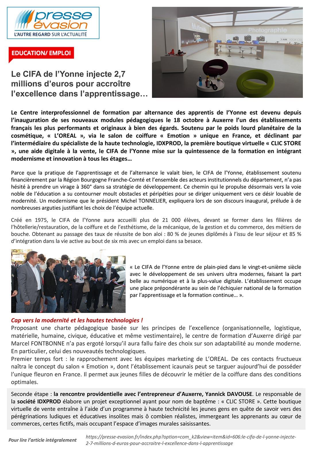 Le Cifa De L Yonne Injecte 2 7 Millions D Euros Idxprod